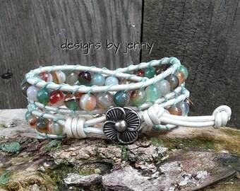 Beaded Leather Wrap Bracelet, Beaded Leather Bracelet, Bohemian Jewelry, Mens Leather Bracelet, Rustic Jewelry, Boho Style