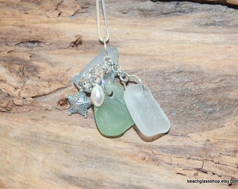 Sea Glass Necklace - Coastal Jewelry - Lake Erie Beach Glass Jewelry - Cleveland Jewelry - FREE Shipping inside the US