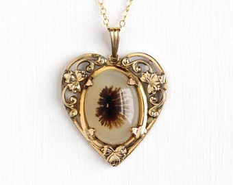 Vintage 12k Yellow Gold Filled Moss Agate Gem Heart Necklace - 1940s Off White & Mossy Brown Gemstone Cabochon Pendant Leaf Vine Jewelry