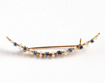 Sale - Antique 10k Rosy Yellow Gold Crescent Moon Sapphire Seed Pearl Bar Pin - Vintage 1900s Victorian Edwardian Fine Celestial Jewelry
