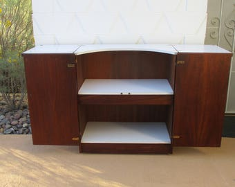 Mid Century Modern Brown Saltman Rolling Bar Cart Server Cabinet