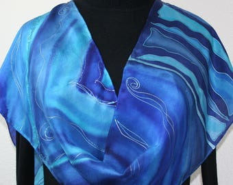 Hand Painted Silk Scarf. Blue, Turquoise, Navy Blue Handmade Scarf, ATLANTIC STORM. 11x60. Silk Scarves Colorado. 100% silk. Hand Dyed Scarf