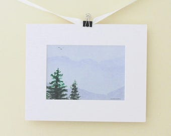 The Mountains Are Calling and I Must Go, mountain art, Blue Ridge Mountains giclee landscape matted 8x10 inches