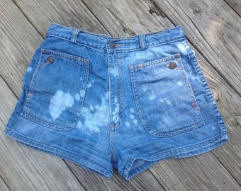 True  DENIM 70's High WAISTED SHORTS  Vintage Blue Jeans
