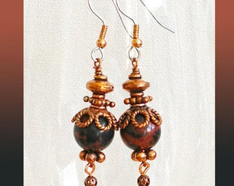 Hook Earrings 13mm Mahogany Jasper Rounds TierraCast Copper Ornate Bead Caps You Choose Surgical Steel With Copper or Sterling Silver Hooks