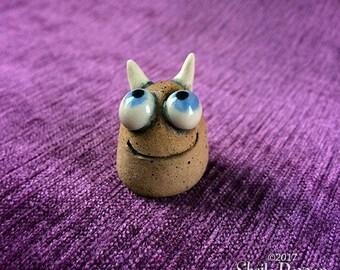 Meep Monster - hand sculpted stoneware ceramic buddy desk pet blue eyes
