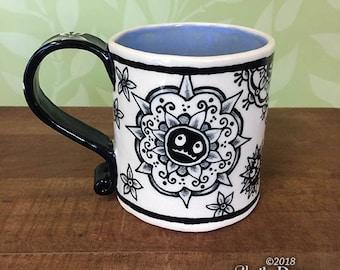Monster Mandalas Mug -  ceramic handmade coffee cup henna design mendhi