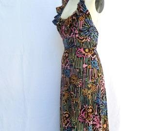 Vintage 1970's/Floral Halter Neck Maxi Dress/Young Innocent/Mod Print Halter Neck Long Dress/Small/Medium