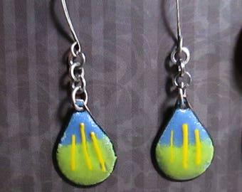 Blue and Green Enamel Teardrop Earrings