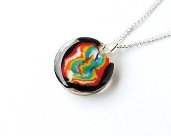 Rainbow Shavings Necklace, Rainbow Colour Pencil Shavings Resin Pendant, Gay Pride, Rainbow Jewellery, Resin Jewellery, LGBT, UK, 380