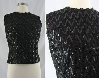 SALE Vintage Sixties Top - 60s Black Sequin Shell Blouse - 60s Sleeveless Sequined Zip Back Blouse - Medium