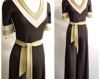 1970s does 30s Brown & cream wide leg jumpsuit / 1930s style 70s palazzo jumpsuit - S