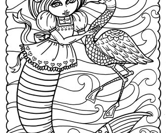 5 Pages Instant Download Alice in Waterland Coloring pack Be the Artist Adult color books fantasy art color page digi stamp digital download