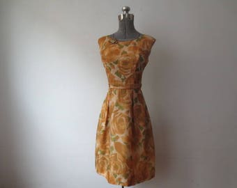 Vintage '50s Sheer Burnt Orange Floral Silk Overlay, Tailored, Sleeveless Wiggle Dress, As-Is, 38 Inch Bust
