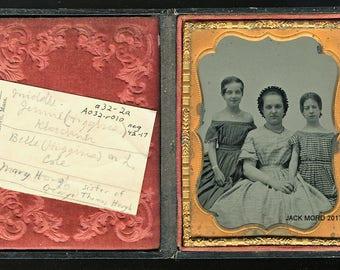 1/4 Ambrotype of Three Identified Bedford Massachusetts Girls