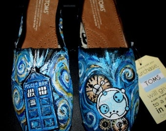 Doctor Who shoes Toms  Handpainted Tardis swirls Custom painted for you any size   Gallifreyan  LAYERS of details and colors