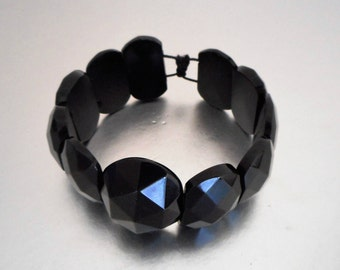 Victorian Whitby Jet Panel Bracelet. Carved Faceted Flat Back Cabochons. Antique English Mourning Bracelet. Genuine Whitby Jet Jewelry C1880