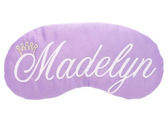 Personalized Princess Sleep Mask Party Favors Tiara Crown Custom Eye Masks Lavender Purple