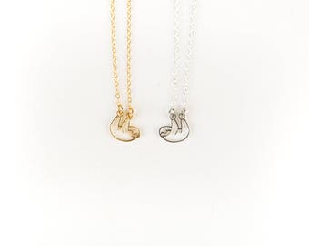 Sloth Necklace //Sterling Silver Jewelry // Silver Sloth // Gold Sloth // Tiny Sloth // Layering Necklace