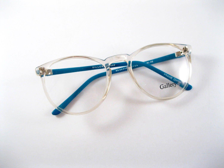Circular eyeglasses frames. Clear blue plastic oversized 80s 90s new ...