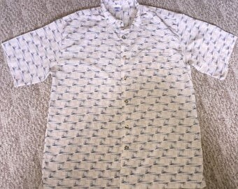 Vintage Men's Button Up Shirt Made By Premier Size Large 100% Polyester RN #67227