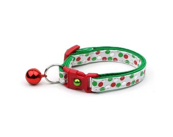 Christmas Cat Collar -  Christmas Dots - Kitten or Large Size