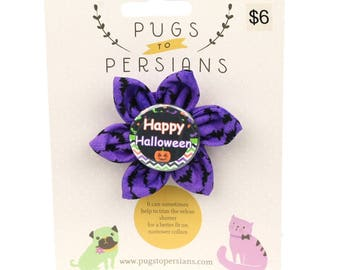 Halloween Dog Bow - happy Halloween on Purple Bats - Flower - Collar Blossom - Small Size