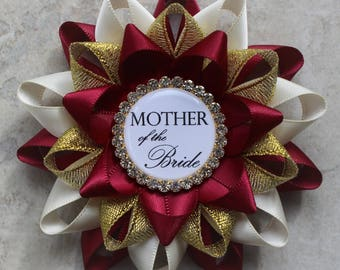 Bridal Shower Decorations, Bridal Shower Corsage Pins, Bridal Shower Gift for Mother of the Bride, Mother of the Groom, Wine, Ivory, Gold