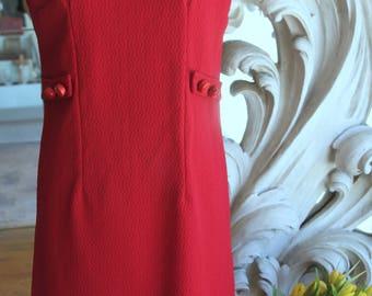 Vintage 1960s Burgundy Polyester Sheath Dress 38 Bust