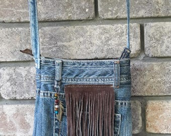 old jeans denim festival bag