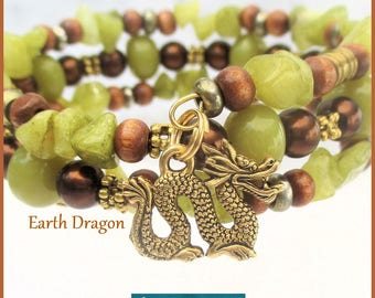 Multistrand Coil Bracelet Gold Dragon Charm Memory Wire Brown Green Gemstone Wood Year of the Dragon One Size Fits Most  / Choose Charm