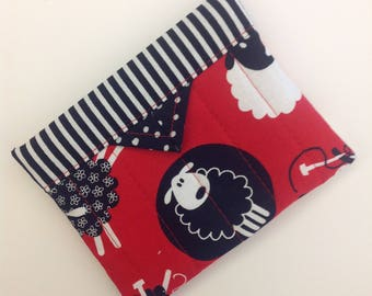 """Knitting Sheep Quilted Fabric Mini Snap Bag 5-1/4"""" x 4-1/4"""""""