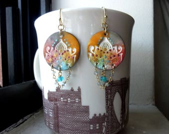Handmade Artisan Polymer Clay Rounds Labradorite Beaded Chain Earrings