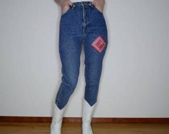 Rare 90s western Guess America bandana patch denim skinny fit zipper ankle jeans 27 inch waist