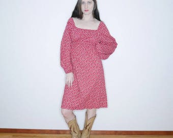 vtg 70s 80s country bumpkin handmade long sleeve baby doll red floral prairie dress