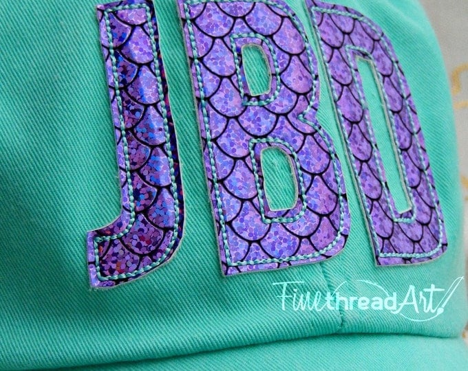 Featured listing image: LADIES Mermaid Scale Glitter Vinyl Applique Monogram Initials Mrs. Wedding Baseball Cap Hat LEATHER strap Beach Girls Trip Pigment Dye