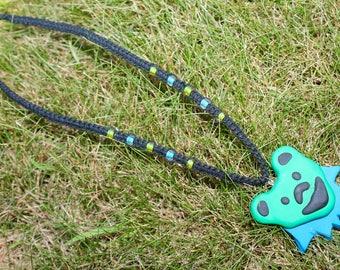 Grateful Dead inspired hemp necklace with handmade bear pendant, hemp jewelry, deadhead, macrame, hippie, polymer clay, music festivals