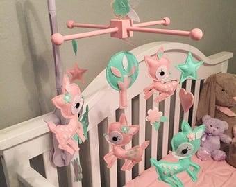 Custom Baby Deer Themed Baby Crib Mobile, Hearts Baby Nursery Mobile, Stars Felt Mobile, Tree and Flowers Baby Mobile, Fawn Felt Mobile