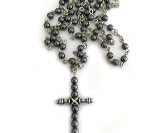 Hematite Cross Necklace Rosary Style Beaded Chain