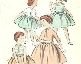 Girl's Jacket and Dress Sundress Pattern Back Tie Sash Unused Size 4 Butterick 8011
