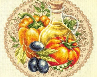 NEW UNOPENED Counted Cross Stitch KIT Wonderful Needle 54-01 Vegetable salad Kitchen Still life