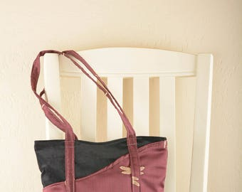 Burgundy Dragonfly Tote