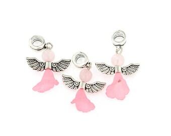 4 European Angel Drop Pendants in Pretty Pink - P2032 NEW2