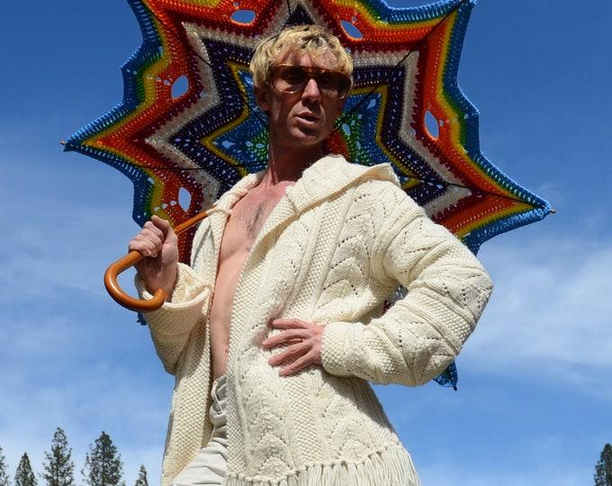Knit Sweater Robe White Fringe