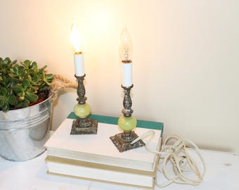 Pair of Vintage Electric Candle Sticks, Vintage Electric Window Candle, Candle Lamp, Brass and Marble Candle Lamp