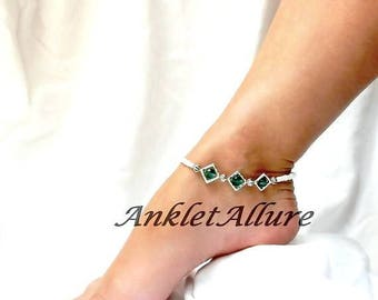 Anklet Ankle Bracelet Beach Anklets Blue Crystal Ankle Bracelet Cruise Anklet Body Jewelry