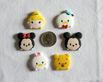 Disney Tsum Tsum Inspired Rubber PVC Bow Center Magnet Badge Reel Accessories
