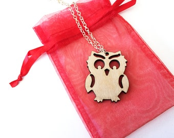Wood owl necklace ~ Laser cut from birch wood, owl gift, owl pendant necklace