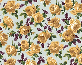 Shabby Chic Fabric,Snow Leopard Fabric,Rose Bower in Sky  PWSL057, ENGLISH GARDEN,Philip Jacobs, Free Spirit Fabrics - By the Yard