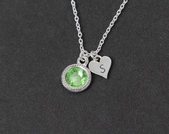 Peridot Necklace, Initial Necklace with Birthstone Personalized Necklace, Sterling Silver Mothers Necklace,  August Birthstone Necklace